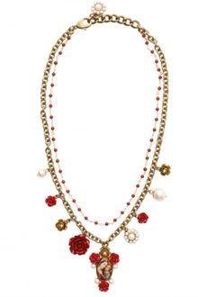 Dolce & Gabbana Virgin Mary with Red Roses Necklace - Lyst
