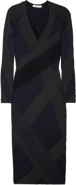 Donna Karan New York Paneled Stretchjersey Dress in Blue (navy) - Lyst