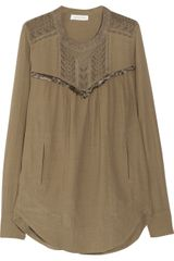 Etoile Isabel Marant Flor Embroidered Gauze Top