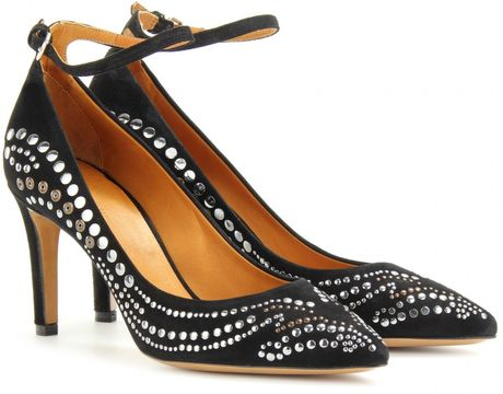 Isabel Marant Stuart Studded Suede Pumps in Black (noir)