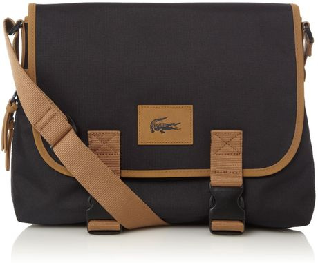 Lacoste Messenger Bag in Black for Men (black & blue)