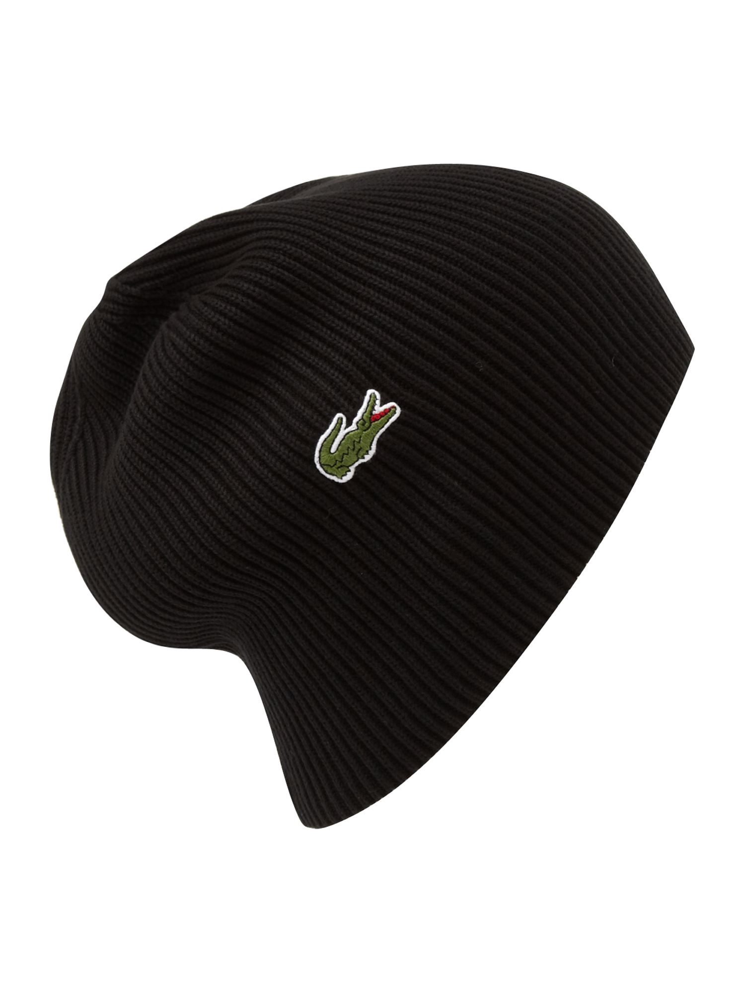 Mens Black Logo Beanie  meet a9fe2 26abc Lacoste Ribbed Beanie Hat in Black  for Men Lyst ... bcfbaed0288e