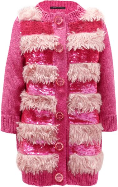 Marc Jacobs Faux Fur and Sequinembellished Cardigan in Purple (magenta)