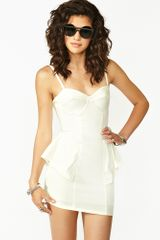 Nasty Gal Peplum Bustier Dress Ivory - Lyst