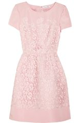 Oscar de la Renta Lace and Silk Faille Dress