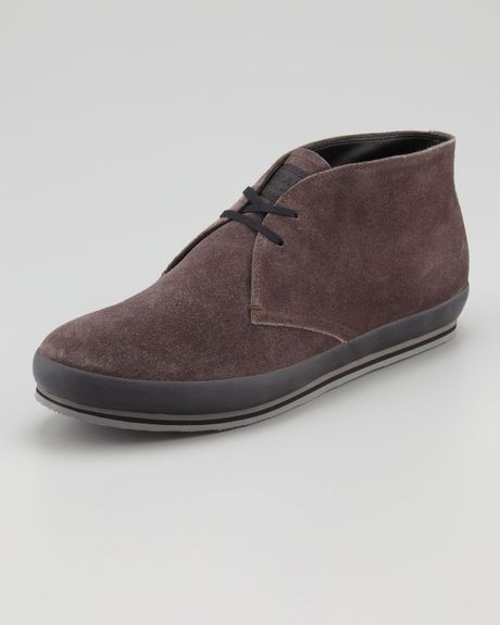 prada suede chukka boot in brown for lyst