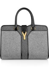 Yves Saint Laurent Cabas Chyc Medium Woolfelt and Patent Leather Tote - Lyst