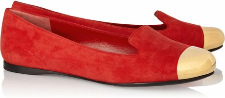 Saint Laurent Evalyn Suede and Metal Loafers in Red - Lyst