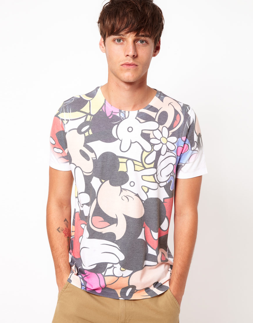 Lyst Asos T Shirt With Mickey All Over Sublimation Print In White