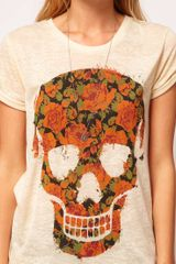 Asos Collection  TShirt with Floral Skull in Burnout in Beige (cream) - Lyst