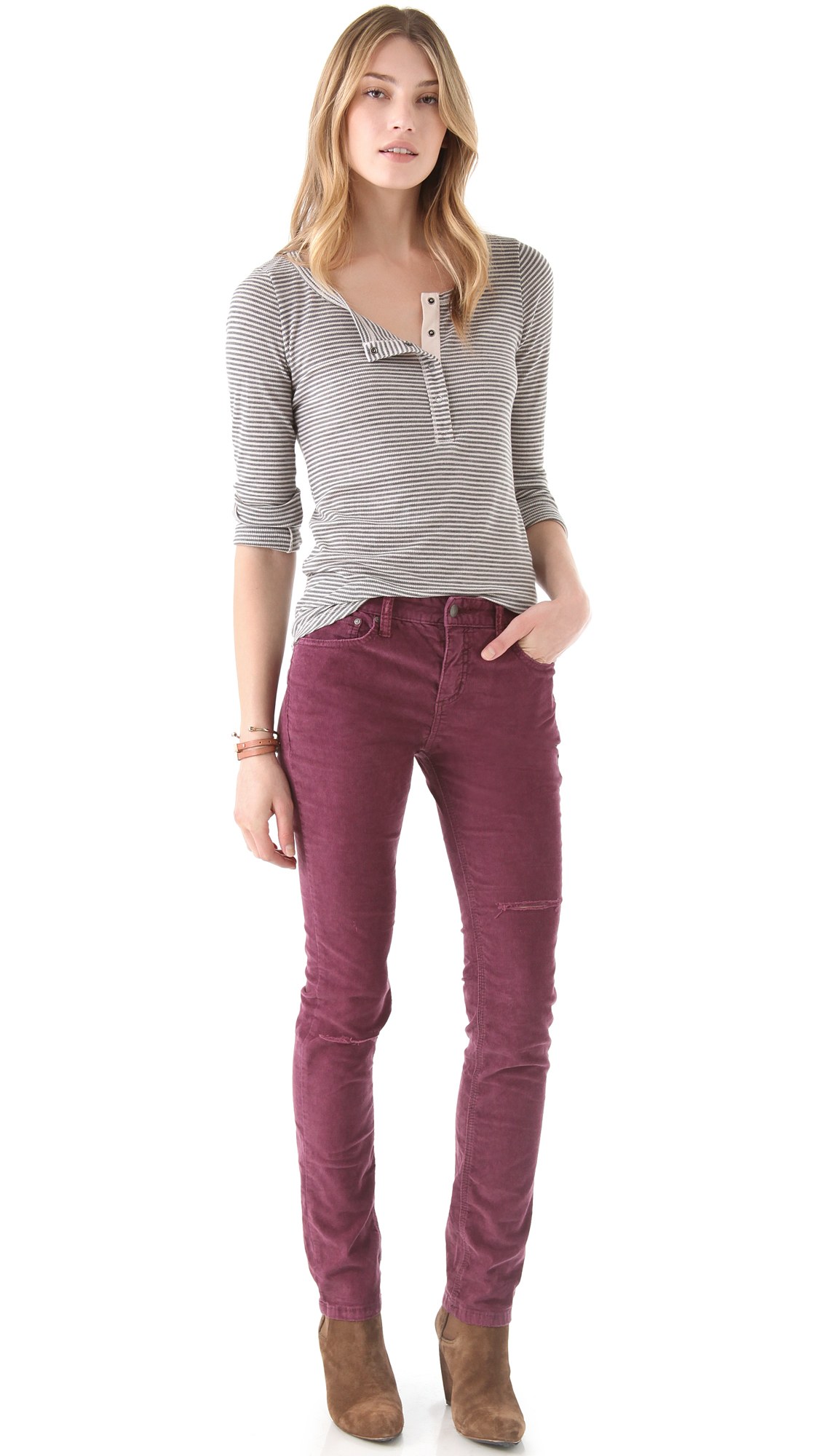 Free people Hi Rise Corduroy Pants in Purple | Lyst