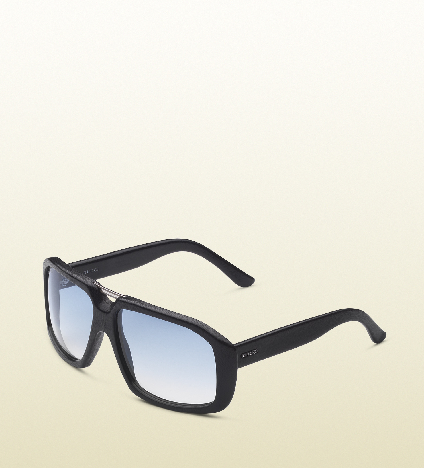 Gucci Rectangle Frame Sunglasses in Leather with Small ...