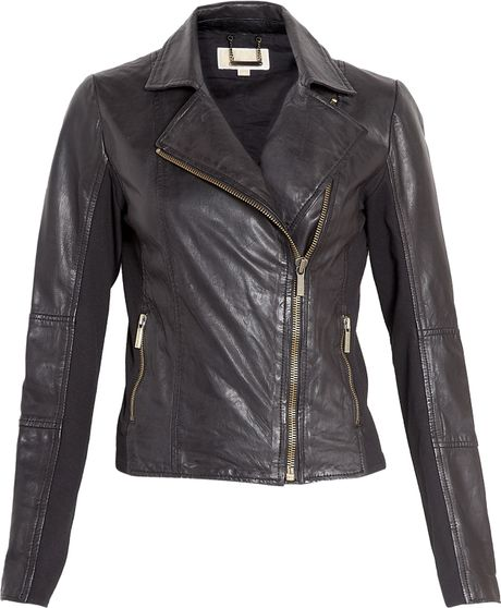 michael michael kors black leather jacket with knitted. Black Bedroom Furniture Sets. Home Design Ideas