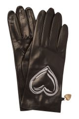 Moschino Cheap & Chic Scribble Heart Leather Gloves in Black - Lyst