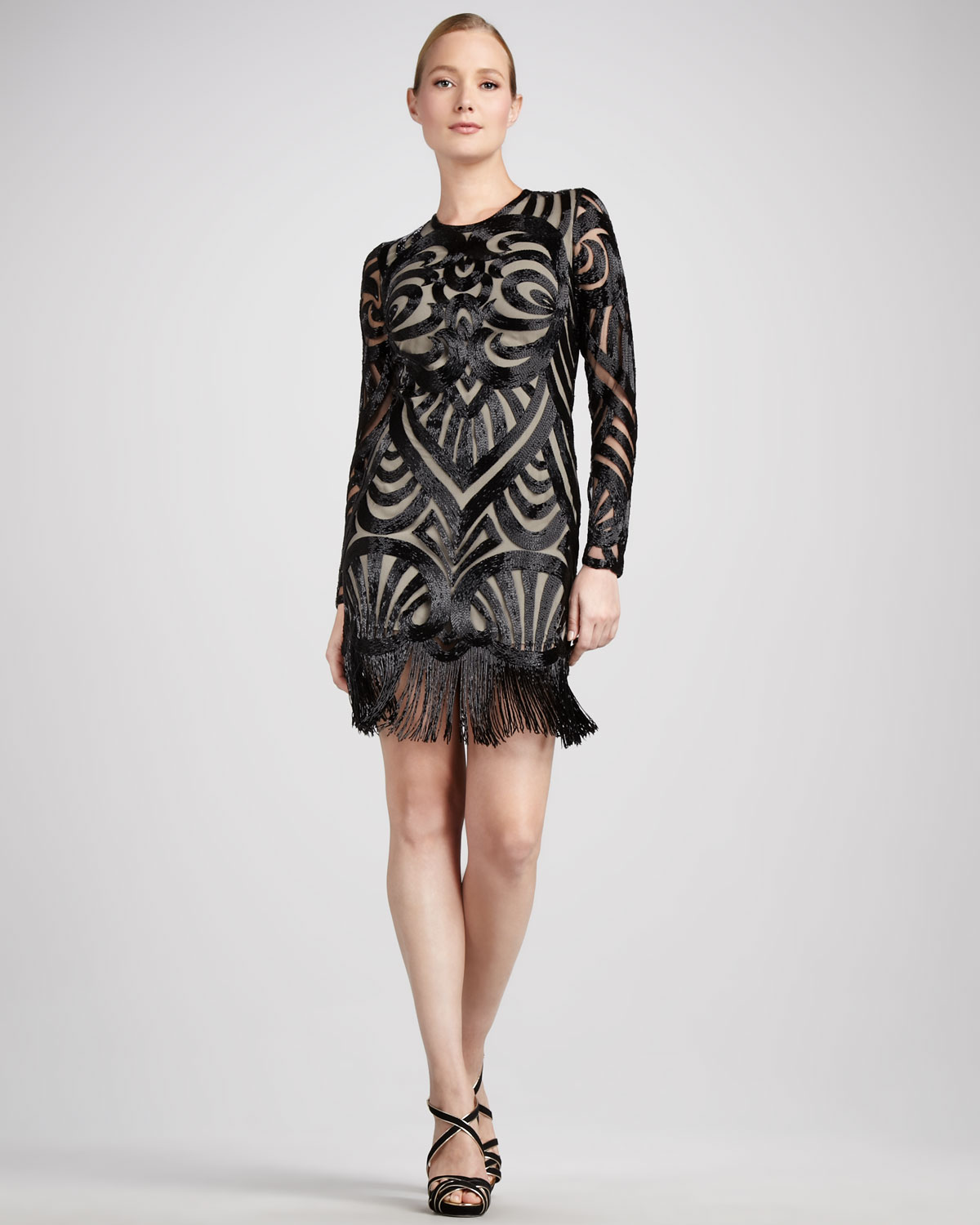 Naeem khan Womens Beaded Longsleeve Cocktail Dress in Black | Lyst