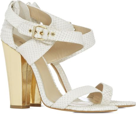 Reiss Buckle Thick Heel Sandal In White Ivory Lyst