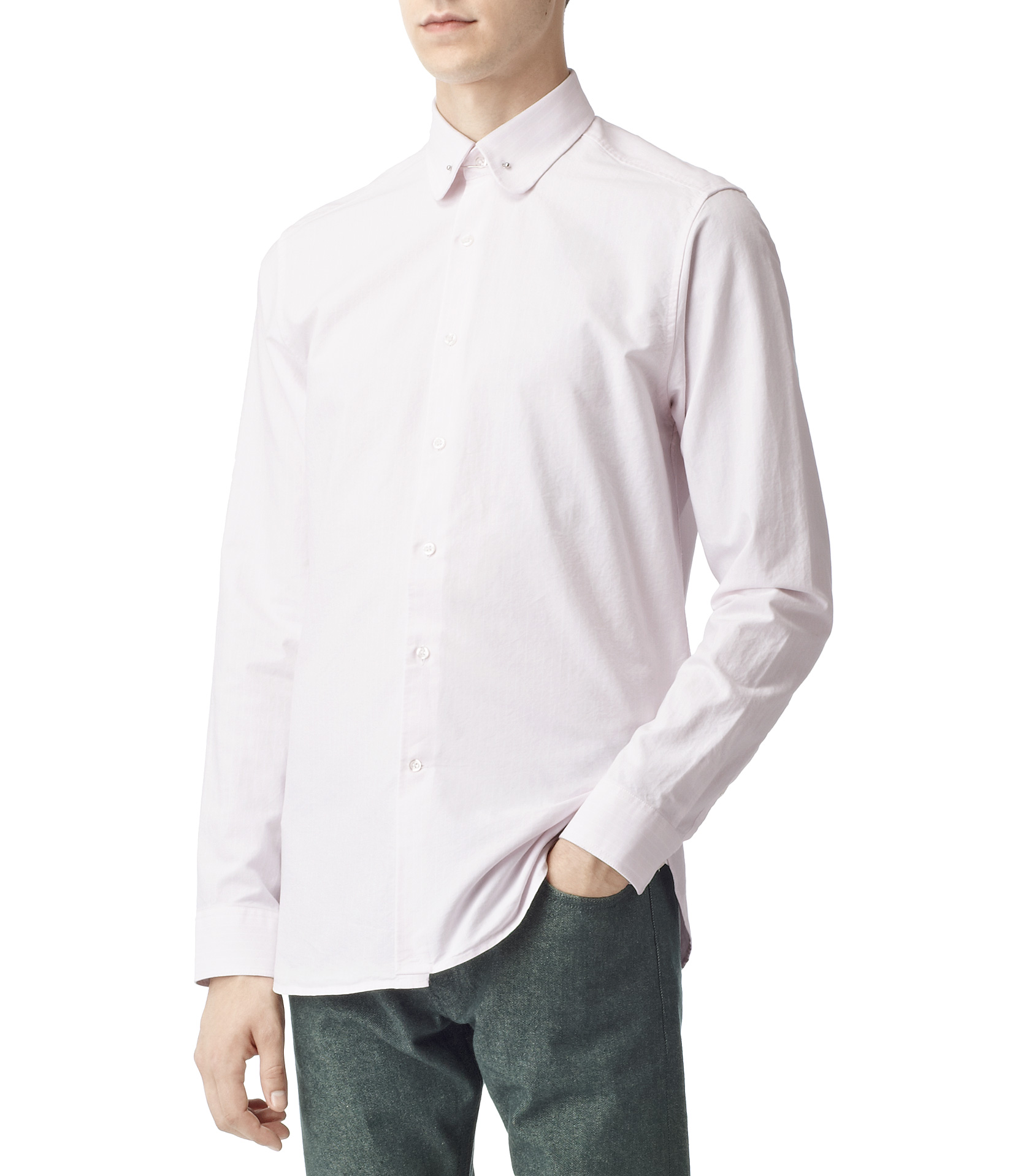 Lyst Reiss Boston Wide Stripe Collar Bar Shirt In Pink