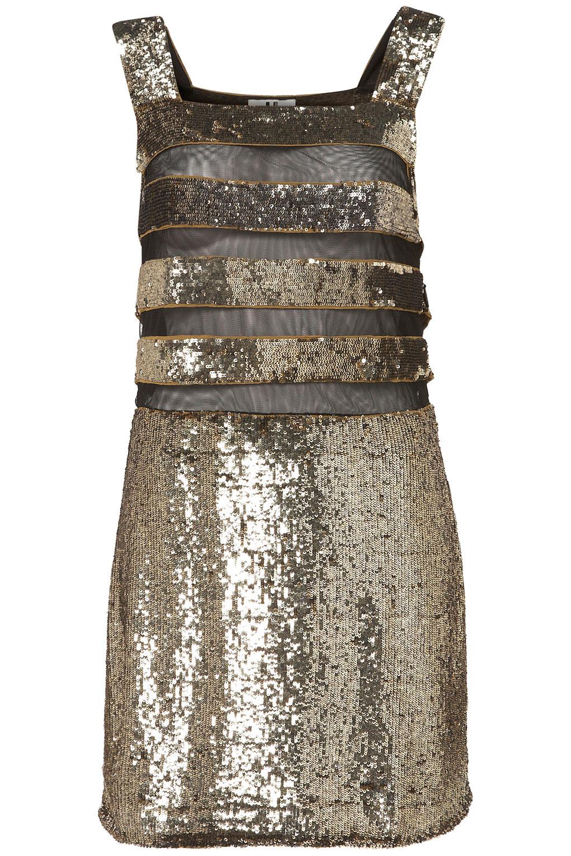 Topshop Sequin Stripe Dress in Metallic - Lyst