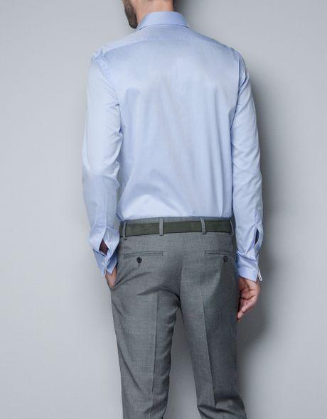 Zara Twill Shirt With Cufflinks In Blue For Men Light