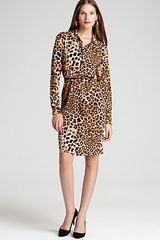 Ak Anne Klein Animal Print Long Sleeve Dress - Lyst