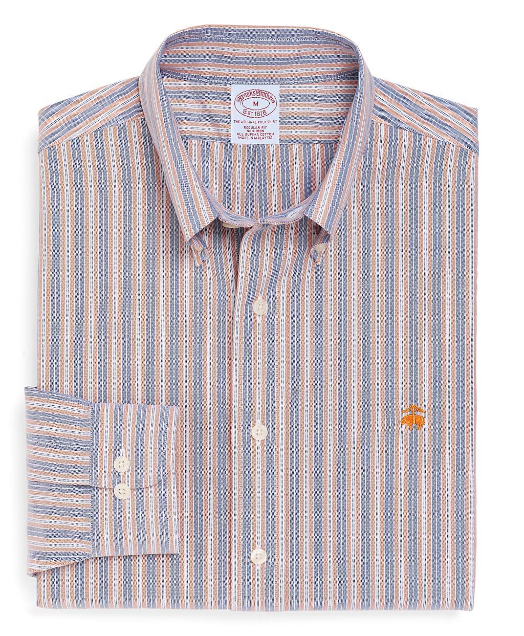 Brooks brothers non iron regular fit double stripe oxford for Brooks brothers non iron shirt review