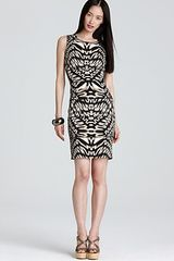 Calvin Klein Printed Tuck Dress - Lyst