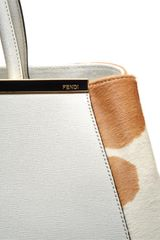 Fendi Leather and Shopper with Cow Print Calf Hair in White - Lyst