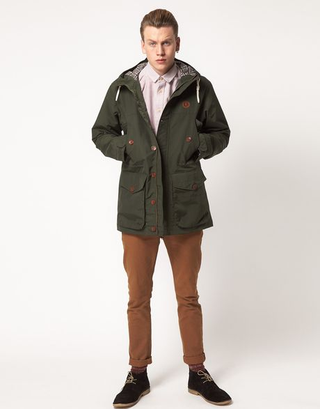 fred perry parka hooded in green for men lyst. Black Bedroom Furniture Sets. Home Design Ideas