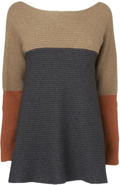 Jaeger Colour Block Circular Rib Sweater in Beige (camel) - Lyst