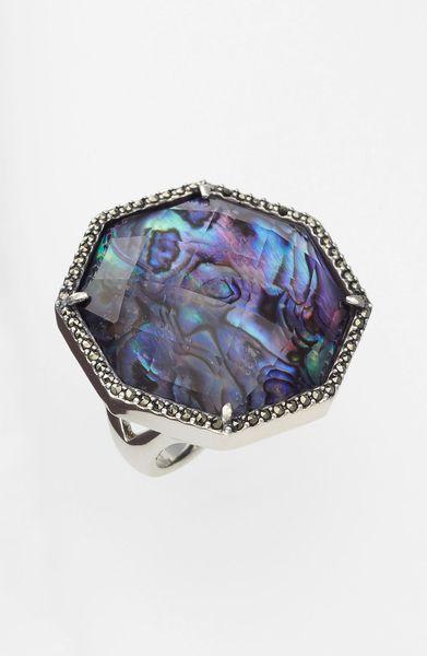 Judith Jack Maldives Stone Ring In Silver Silver Purple