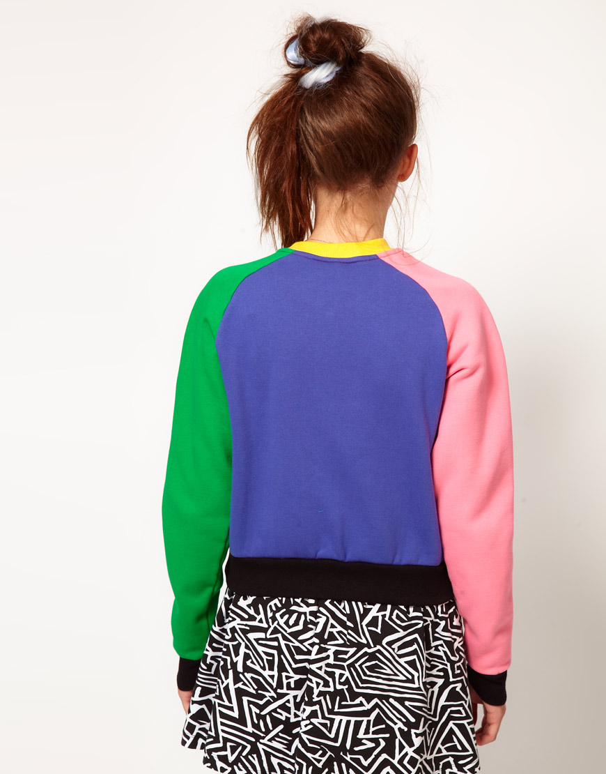 Lazy oaf Colour Panel Bomber Jacket | Lyst