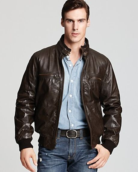 Mens Dark Brown Bomber Leather Jacket 539 | Black Models Picture
