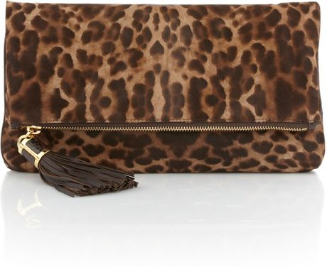 Michael Kors Large Tonne Calf Hair Foldover Clutch in Animal (cheetah)