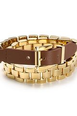 Michael Kors Leather Double Wrap Watch Link Bracelet - Lyst