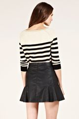 Oasis Breton Stripe Military Jumper in Black (multi-coloured) - Lyst