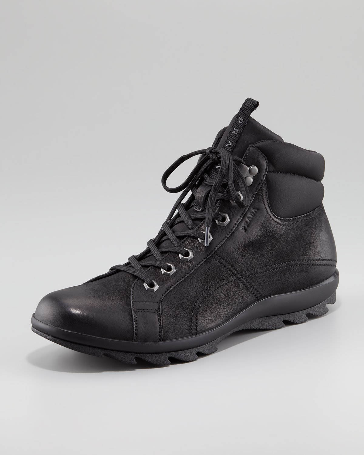 Prada Nubuck Leather Hiker Boot In Black For Men Lyst