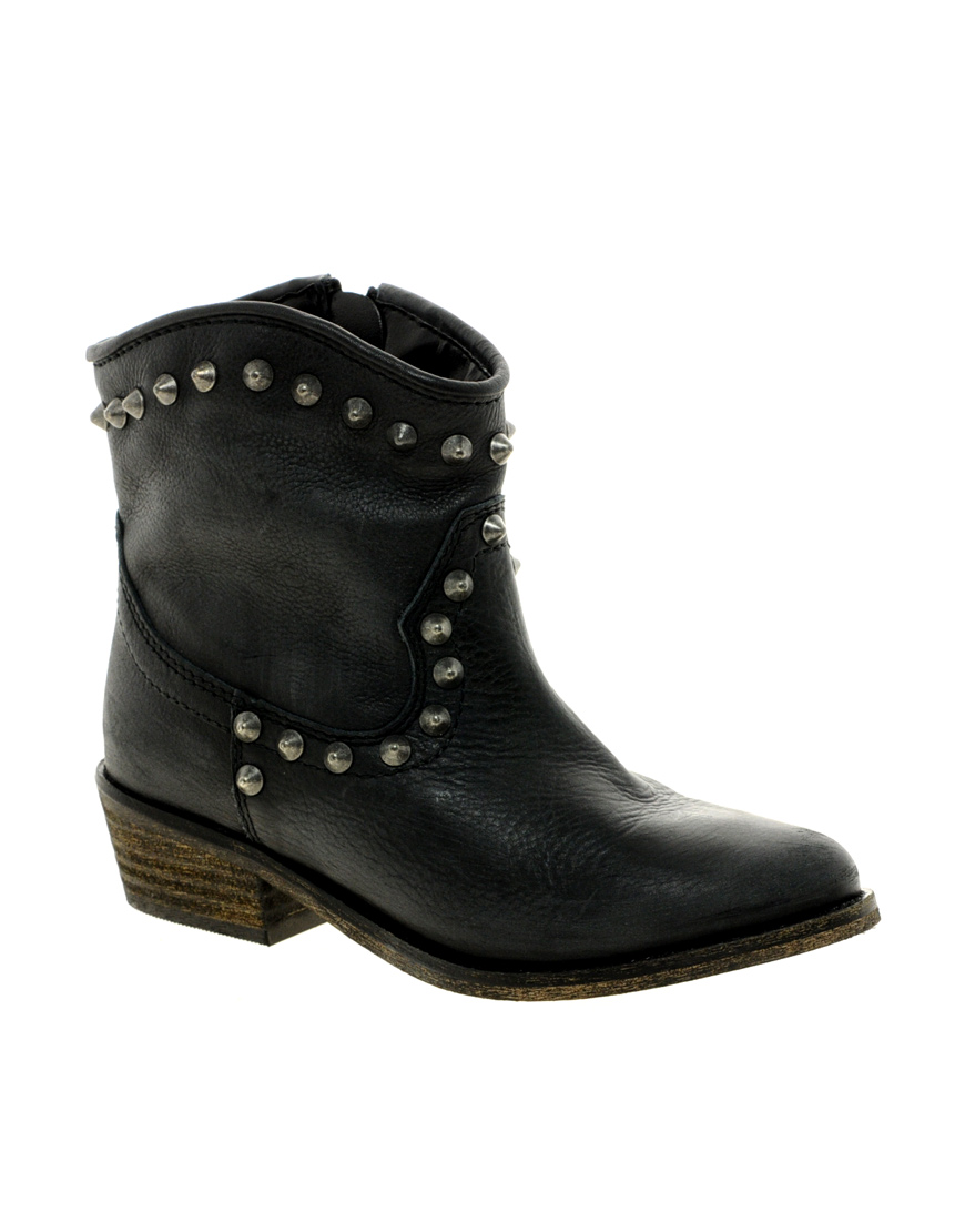 Lyst River Island Western Stud Ankle Boots In Black