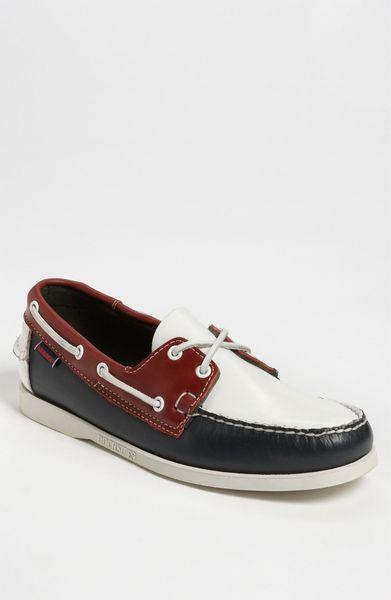 sebago spinnaker boat shoe in blue for navy white