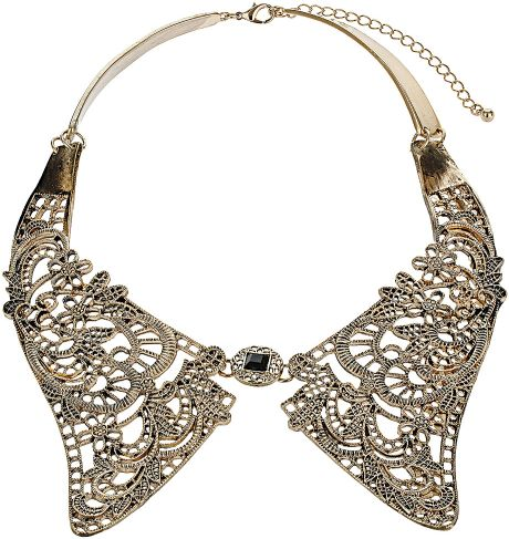 Topshop Metal Lace Collar in Gold - Lyst