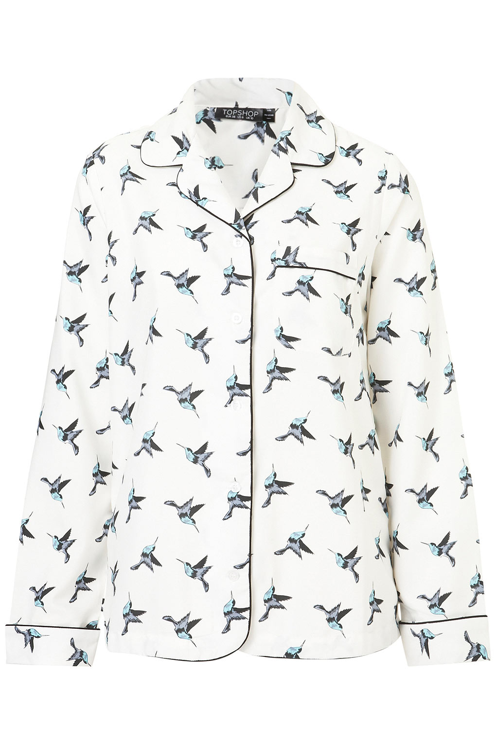 86ad80ad84 Lyst - TOPSHOP Bird Print Pyjama Style Shirt in White