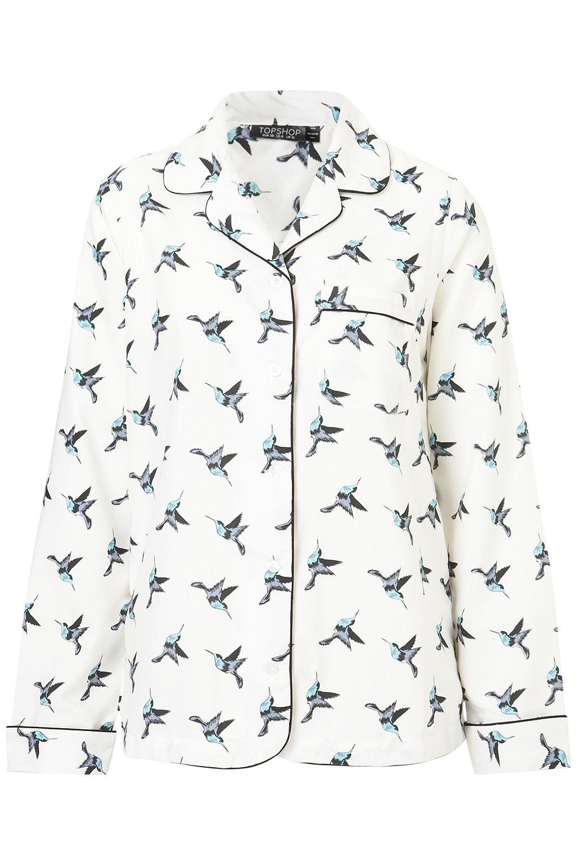 86ad80ad84 Lyst - TOPSHOP Bird Print Pyjama Style Shirt in White