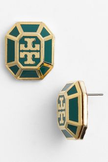 Tory Burch Rylan Logo Large Stud Earrings - Lyst