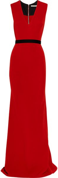 Victoria Beckham Belted Wool and Silkblend Double Crepe Gown in Red - Lyst