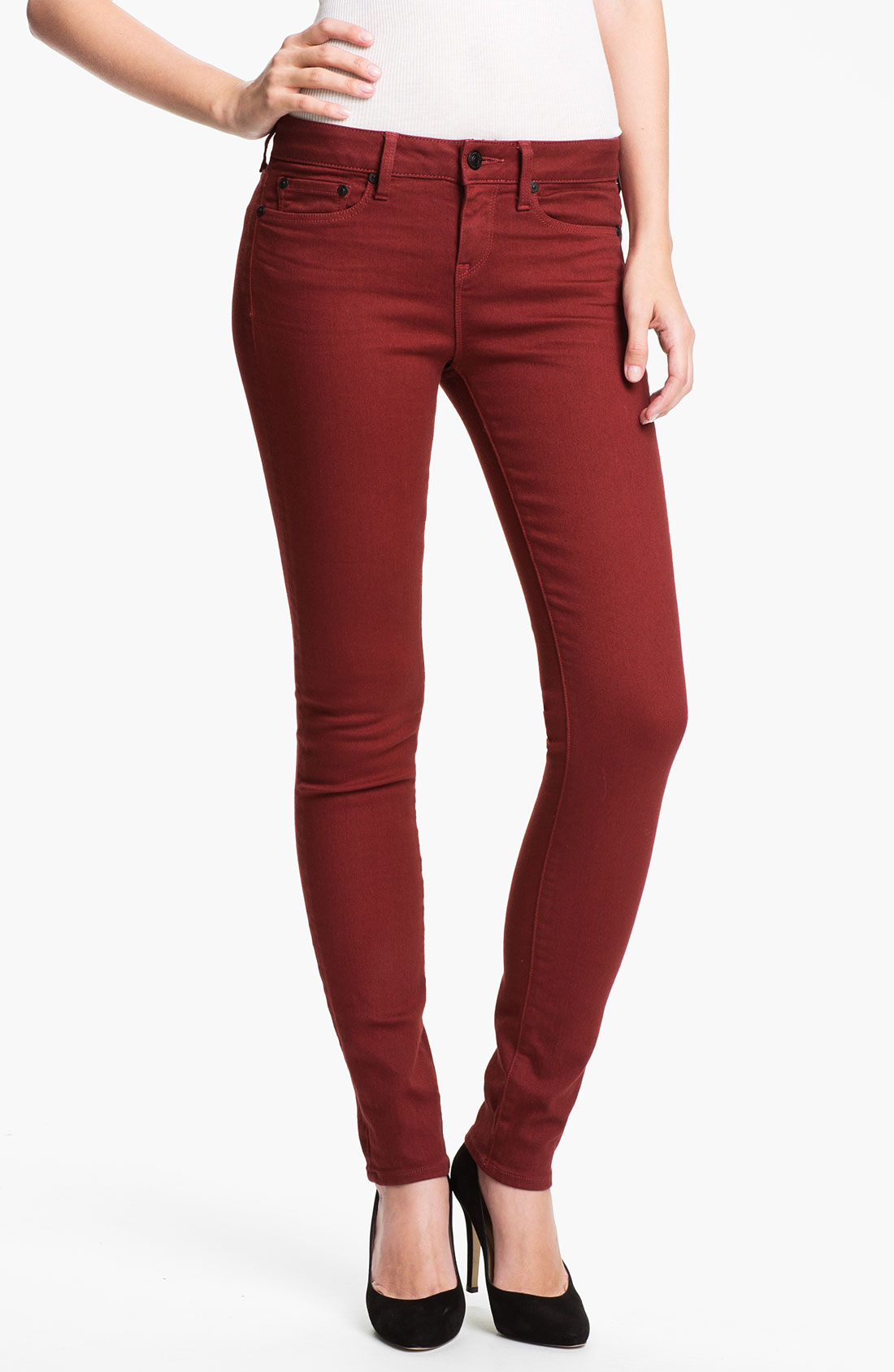 Vince Colored Stretch Skinny Jeans in Blue (brick) | Lyst