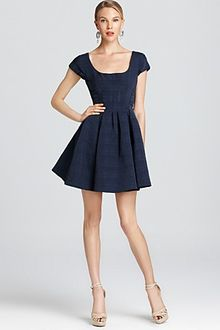 Zac Posen Jacquard Dress Short Sleeve with Pleated Skirt - Lyst