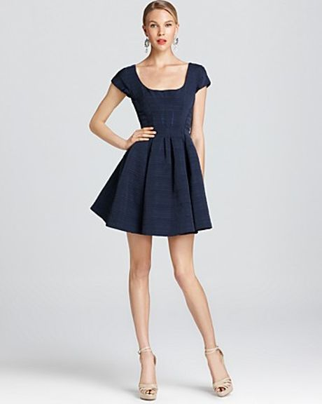 Zac Posen Jacquard Dress Short Sleeve with Pleated Skirt in Blue (caspian blue) - Lyst