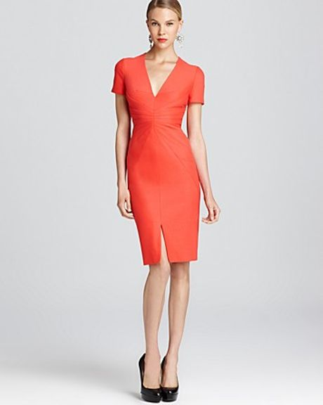 Zac Posen  Deep V Neck Jersey Dress in Orange (tangerine) - Lyst