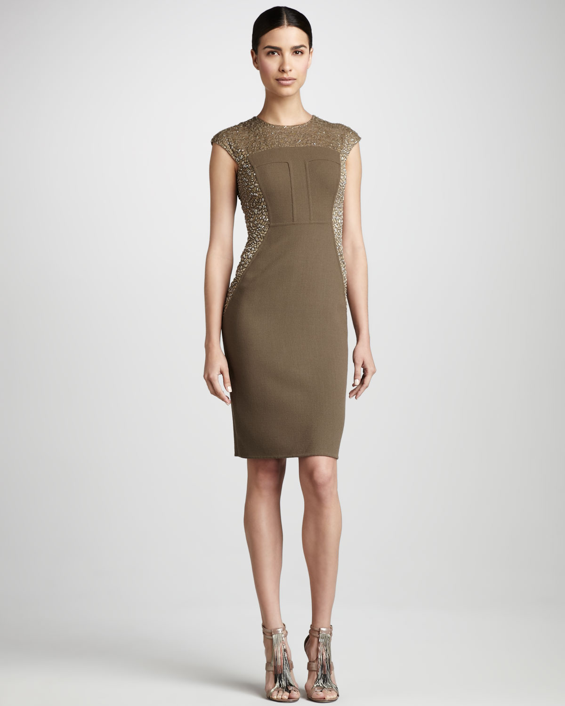 Carmen marc valvo Bead-Panel Cocktail Dress in Natural - Lyst