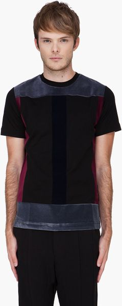 Christopher Kane Black Flock Panel Tshirt in Black for Men - Lyst