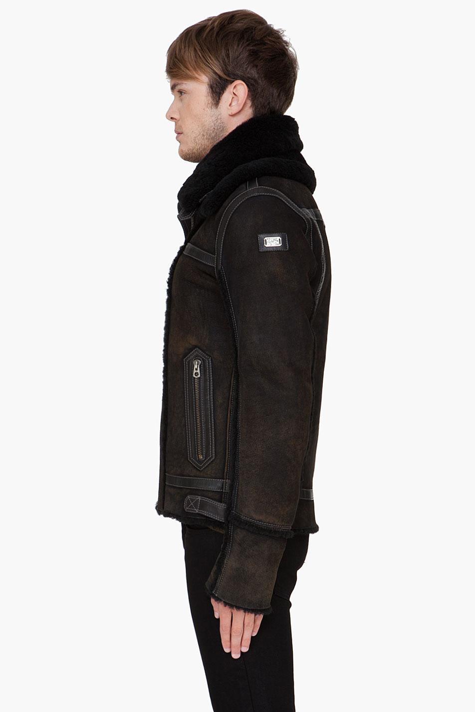 Diesel Black Shearling Lencang Jacket In Black For Men Lyst